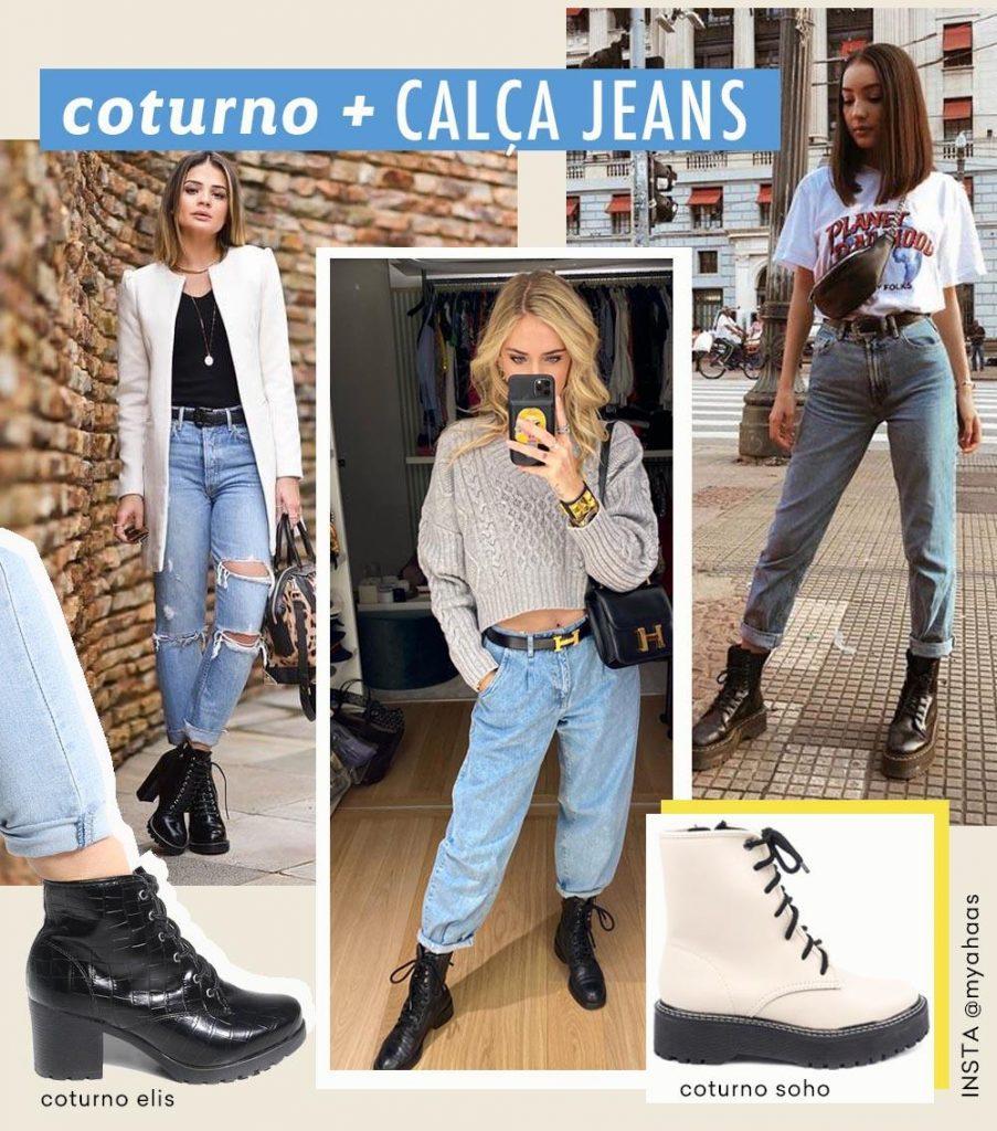 coturno feminino com calça jeans