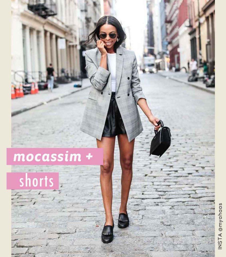 looks com mocassim e shorts
