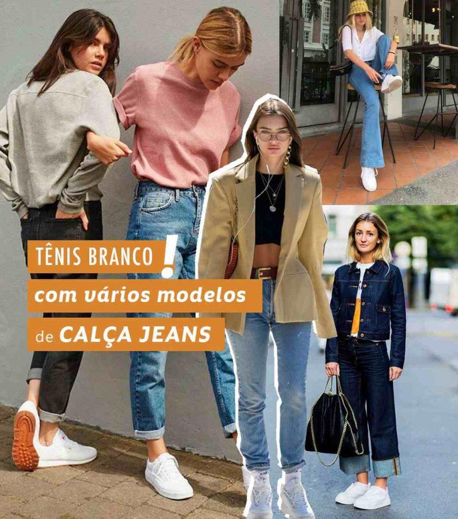 tênis branco e calça jeans