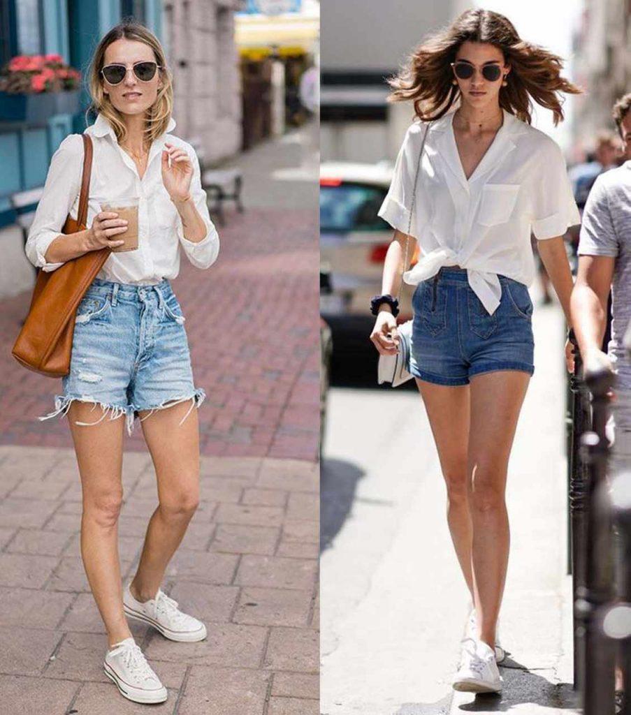 looks com tênis branco e shorts jeans