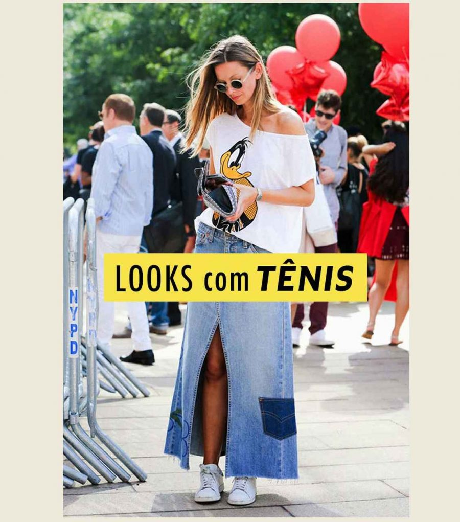 looks com tênis branco