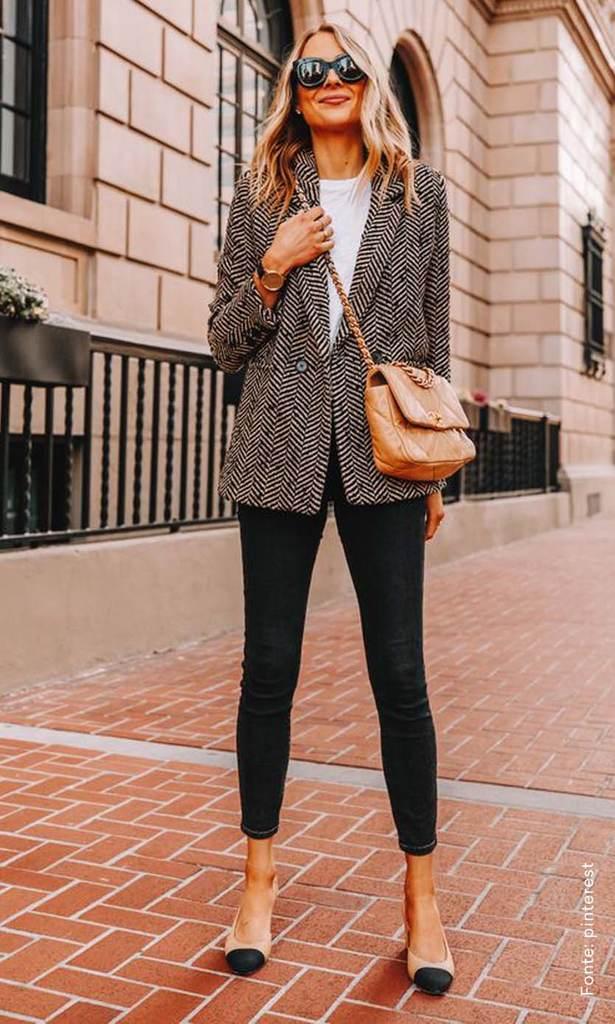 looks com bolsa transversal estilo chique blazer