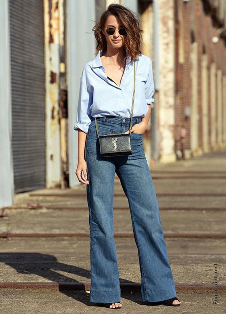 looks com bolsa transversal jeans