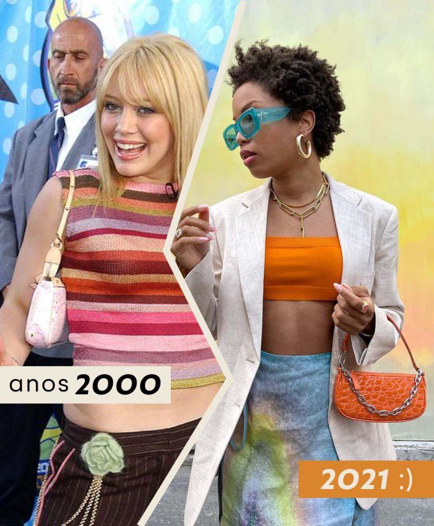 Foto anos 2000 bolsa baguette com Hillary Duff e 2021 com Ellie