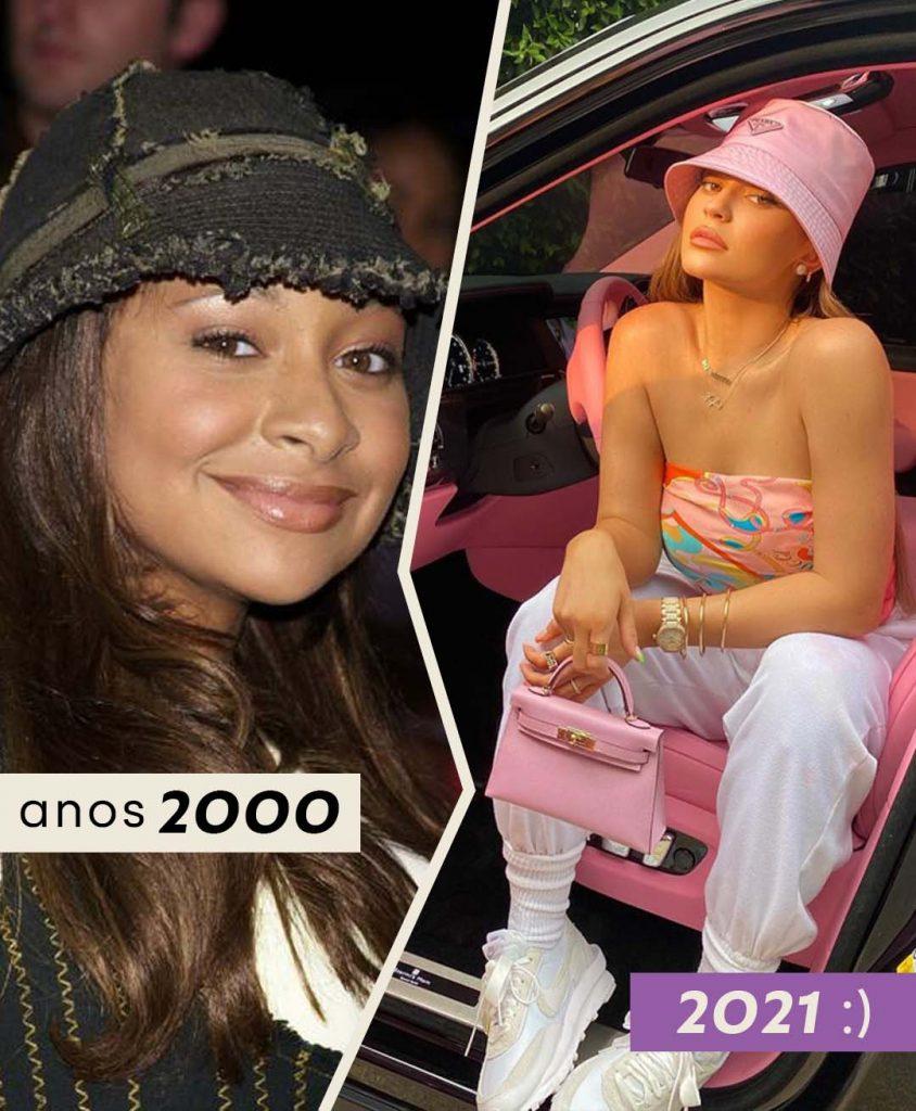 Foto Anos 2000 Bucket Hat com Raven e 2021 com Kylie Jenner