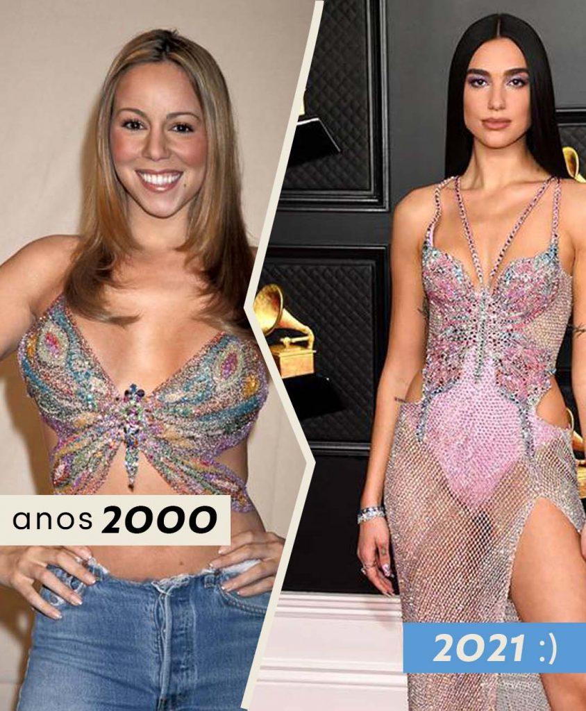 Foto anos 2000 simbolo borboleta com Mariah Carrey e 2021 com Dua Lipa